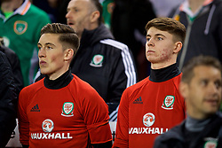 DUBLIN, REPUBLIC OF IRELAND - Friday, March 24, 2017: Wales' substitutes Harry Wilson and Ben Woodburn on the bench before the 2018 FIFA World Cup Qualifying Group D match against Republic of Ireland at the Aviva Stadium. (Pic by David Rawcliffe/Propaganda)