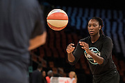 Tina Charles #31 of the New York Liberty warms up before tipoff against the Phoenix Mercury during the second round of the W.N.B.A. playoffs at Madison Square Garden in New York on September 24, 2016. (Cooper Neill for The New York Times)