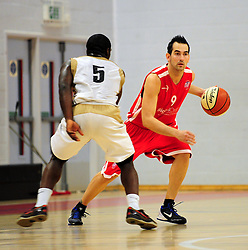 Bristol Academy Flyers' Fran Robles loos up for options - Photo mandatory by-line: Dougie Allward/JMP - Tel: Mobile: 07966 386802 23/03/2013 - SPORT - Basketball - WISE Basketball Arena - SGS College - Bristol -  Bristol Academy Flyers V Essex Leopards
