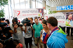Primoz Kozmus during reception of Slovenian Olympic team, on August 10, 2012 in Airport Joze Pucnik, Brnik, Slovenia.  (Photo by Matic Klansek Velej / Sportida)