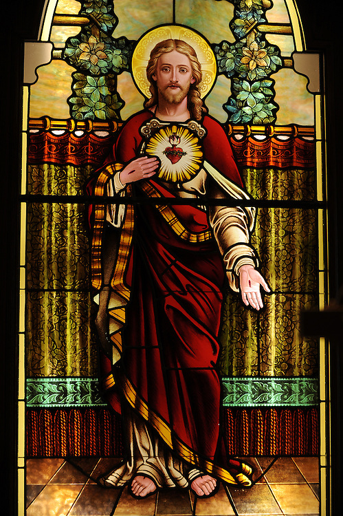 Stained glass image of Jesus revealing his sacred heart. Our Lady of Lourdes Church, De Pere, Wis. (Sam Lucero photo)