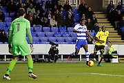Reading's Yakou Meite (19) scores for Reading and celebrates after making the 3-0 to Reading, during the EFL Sky Bet Championship match between Reading and Burton Albion at the Madejski Stadium, Reading, England on 19 November 2016. Photo by Richard Holmes.