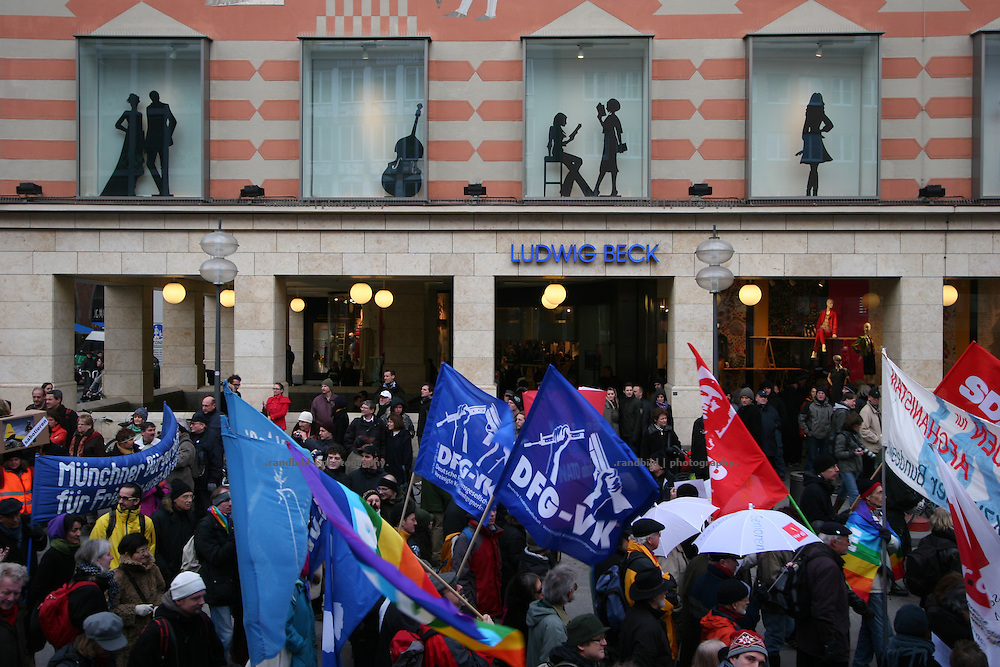 """Serveral thousend people demonstrate in Munich against the 45. """"Munich Security Conference"""". They demanded the withdrawal of the troops from Afghanistan and expressed their displeasure about the NATO and its policy."""