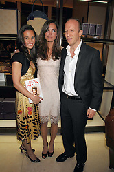 Left to right, PIPPA MIDDLETON, KATE MIDDLETON and SIMON SEBAG-MONTEFIORE at a party to celebrate the publication of 'Young Stalin' by Simon Sebag-Montefiore at Asprey, New Bond Street, London on 14th May 2007.<br />