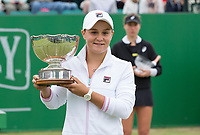 NOTTINGHAM, ENGLAND - JUNE 17: Ashleigh Barty with the trophy after beating Johanna Konta of Great Britain during Day Nine of the Nature Valley Open at Nottingham Tennis Centre on June 17, 2018 in Nottingham, United Kingdom. (MB Media)