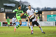 Forest Green Rovers Keanu Marsh-Brown(7) shoots at goal misses the target during the Vanarama National League match between Bromley FC and Forest Green Rovers at Hayes Lane, Bromley, United Kingdom on 7 January 2017. Photo by Shane Healey.
