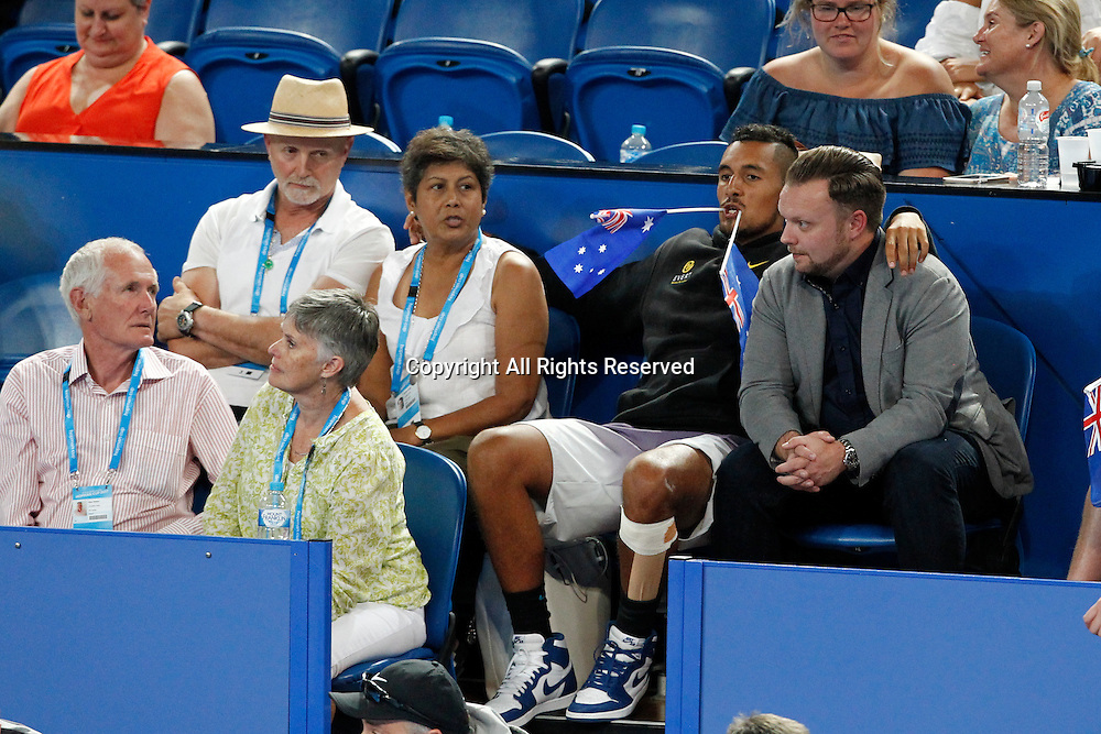 03.01.2017. Perth Arena, Perth, Australia. Mastercard Hopman Cup International Tennis tournament. Nick Kyrgios watches Daria Gavrilova play against Lucie Hradecka (CZE) with his manager John Morris.