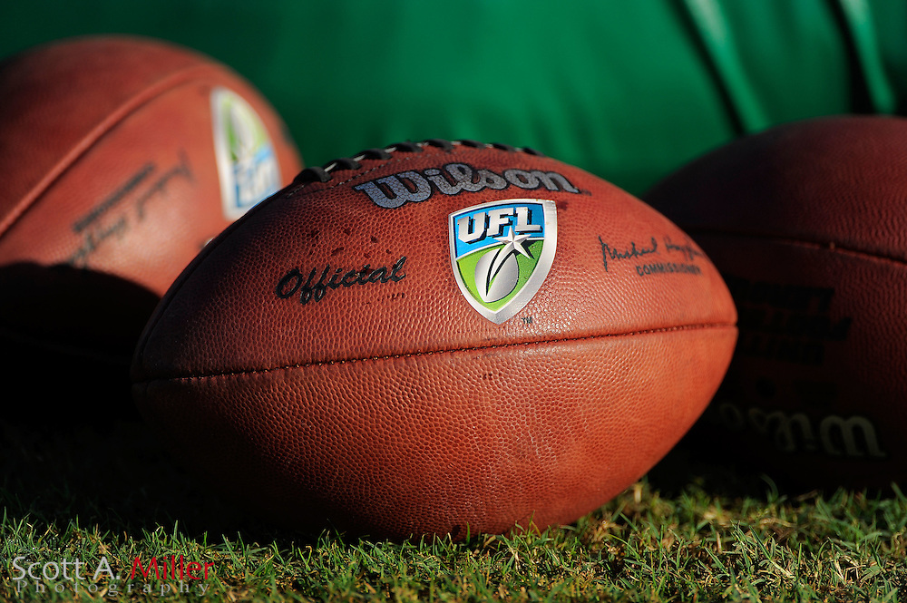 Sep. 2, 2010; Orlando, FL, USA; Football sit on the sideline during Florida Tuskers training camp at Thunder Field. .©2010 Scott A. Miller