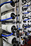 Desalination plant. A bank of Reverse Osmosis membrane filters. This facility turns salt water into drinking water using the Reverse Osmosis Process and will produce 127 million cubic metres of fresh water each year. Photographed in Hadera, Israel.