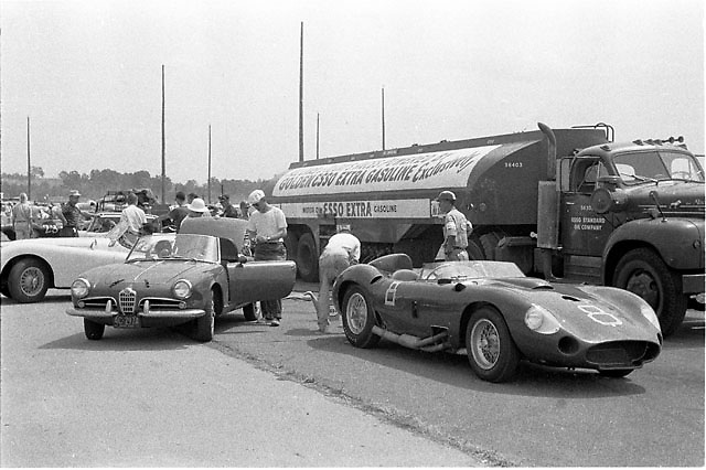 """Montgomery NY August 18, 1957. John Edgar-owned 450S Maserati s/n 4506 (factory re-numbered from 4505) wearing #8, driven here to DNF by Shelby. Same 450S Shel won with at VIR and Palm Springs and Riverside Nationals, all in 1957. Also won Palm Springs prelim in 1958. Excellent period photograph! Thanks for posting."" ID 2015 thanks to William Edgar, son of original car owner/entrant John Edgar"