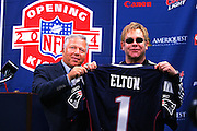 FOXBOROUGH, MA - SEPTEMBER 9:  Robert Kraft (left), owner of the New England Patriots, poses with Elton John prior to the Patriots opening game against the Indianapolis Colts at Gillette Stadium on September 9, 2004 in Foxborough, Massachusetts. <br /> The Patriots defeated the Colts 27-24. &copy;Paul Anthony Spinelli *** Local Caption *** Robert Kraft, Elton John