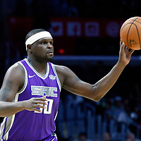 12 October 2017: Sacramento Kings forward Zach Randolph (50) passes the ball during the LA Clippers 104-87 victory over the Sacramento Kings, at the Staples Center, Los Angeles, California, USA.