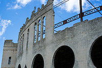 Detail view of the structure of the Plaza de toros Real de San Carlos in Colonia del Sacramento, Uruguay.
