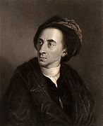 Alexander Pope (1688-1744) English poet.   Engraving from 'The Gallery of Portraits' Vol. V, by Charles Knight (London, 1835).