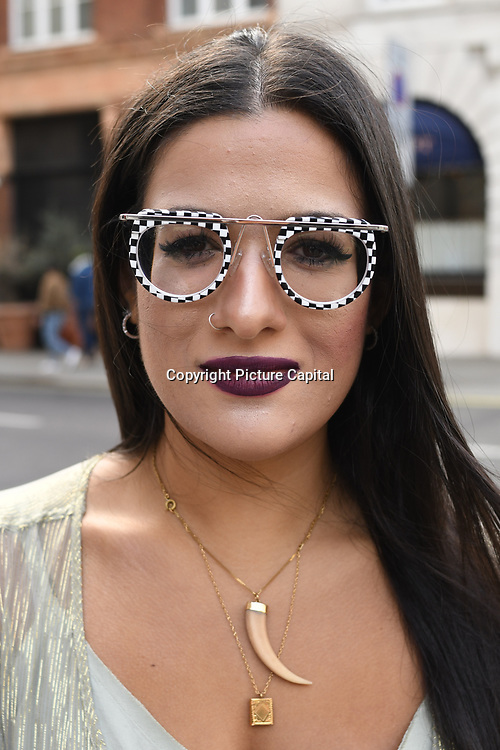 Constantina Savva wearing Alain Milkli glasses attend the Fashion Scout - SS19 Day 1, London, UK 14 September 2018.