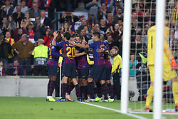 October 24, 2018 - Barcelona, Spain - Barcelona, Spain, October 24, 2018: Jordi Alba of FC Barcelona celebrates with his teammates after scoring his side's second goal during the UEFA Champions League, Group B football match between FC Barcelona and FC Internazionale on October 24, 2018 at Camp Nou stadium in Barcelona, Spain (Credit Image: © Manuel Blondeau via ZUMA Wire)