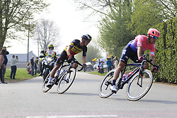 The breakaway group including Matti Breschel (DEN) EF Education First and Belgian Champion Yves Lampaert (BEL) Deceuninck-QuickStep in Brakel during the 2019 Ronde Van Vlaanderen 270km from Antwerp to Oudenaarde, Belgium. 7th April 2019.<br /> Picture: Eoin Clarke | Cyclefile<br /> <br /> All photos usage must carry mandatory copyright credit (© Cyclefile | Eoin Clarke)