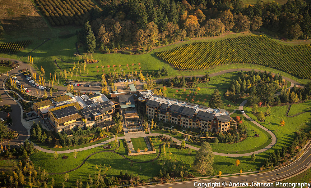 Aerial view over Allison Inn & Spa, Willamette Valley, Oregon