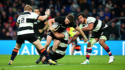 Beauden Barrett of New Zealand is tackled - Mandatory by-line: Robbie Stephenson/JMP - 04/11/2017 - RUGBY - Twickenham Stadium - London,  - Barbarians v All Blacks - Killik Cup