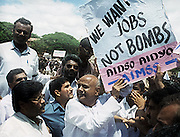 BANGALORE,2000.<br /> Former prime minister of India H.D.Deve Gowda during a protest rally.