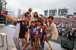 Sergio Perez (MEX) Sahara Force India F1 and Nico Hulkenberg (GER) Sahara Force India F1 at the fans' stage.<br /> 08.10.2016. Formula 1 World Championship, Rd 17, Japanese Grand Prix, Suzuka, Japan, Qualifying Day.<br /> Copyright: Moy / XPB Images / action press