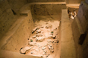 Pit 3 containing horses and warriors as they were found, at Qin Museum, exhibition halls of Terracotta Warriors, China
