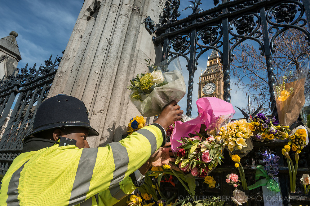 A policeman surveilling the March for Europe stops by the House of Parliament to leave flowers in the memory of his colleague stabbed by a terrorist.