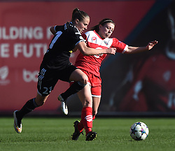 FFC Frankfurt's Ana Maria Crnogorcevic competes with Bristol Academy's Sharla Passariello - Photo mandatory by-line: Paul Knight/JMP - Mobile: 07966 386802 - 21/03/2015 - SPORT - Football - Bristol - Ashton Gate Stadium - Bristol Academy v FFC Frankfurt - UEFA Women's Champions League