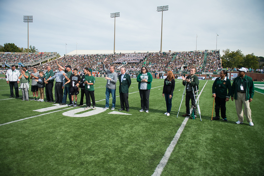 Awardees from the 2016 Alumni Awards Gala are honored during the Bobcat's homecoming matchup against Bowling Green at Peden Stadium on Saturday, October 9, 2016.