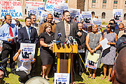 25 JUNE 2012 - PHOENIX, AZ:   Arizona Democratic and civil rights leaders speak in support of the Supreme Court's decision overturning most of SB1070, the state's tough anti-immigration bill, at a press conference Monday. The case, US v. Arizona, determined whether or not Arizona's tough anti-immigration law, popularly known as SB1070 was constitutional. The court struck down most of the law but left one section standing, the section authorizing local police agencies to check the immigration status of people they come into contact with.      PHOTO BY JACK KURTZ