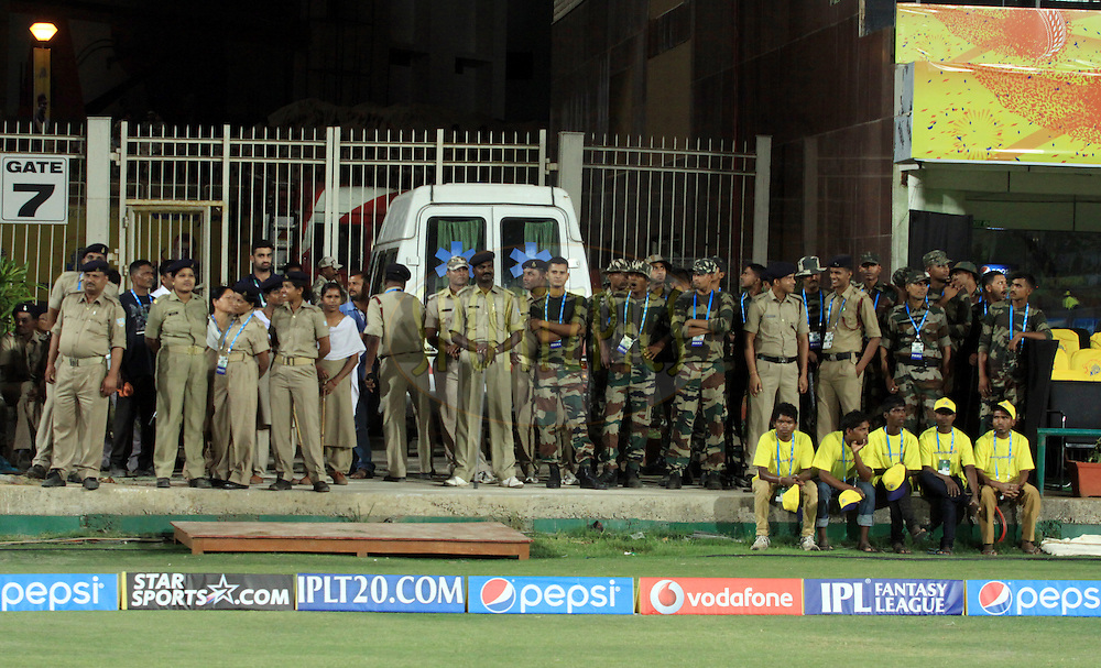 Indian police during match 21 of the Pepsi Indian Premier League Season 2014 between the Chennai Superkings and the Kolkata Knight Riders  held at the JSCA International Cricket Stadium, Ranch, India on the 2nd May  2014<br /> <br /> Photo by Arjun Panwar / IPL / SPORTZPICS<br /> <br /> <br /> <br /> Image use subject to terms and conditions which can be found here:  http://sportzpics.photoshelter.com/gallery/Pepsi-IPL-Image-terms-and-conditions/G00004VW1IVJ.gB0/C0000TScjhBM6ikg
