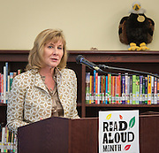 Debbie Adams comments during a news conference at Walnut Bend Elementary School launching Read Aloud Month, March 1, 2016.