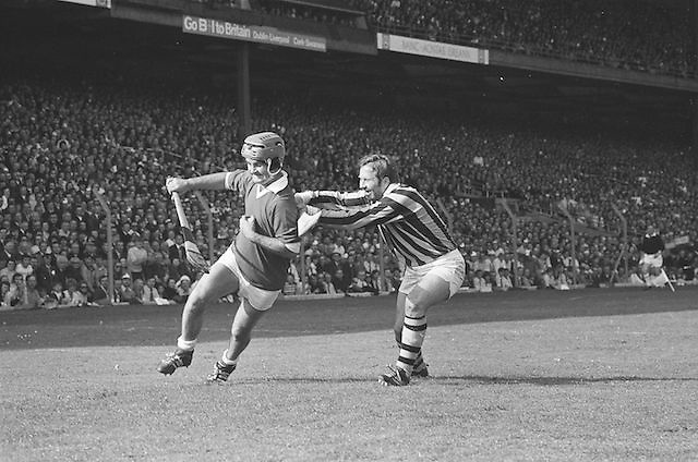 Kilkenny attempts to tackle Cork who has possession during at the All Ireland Senior Hurling Final, Cork v Kilkenny in Croke Park on the 3rd September 1972. Kilkenny 3-24, Cork 5-11.