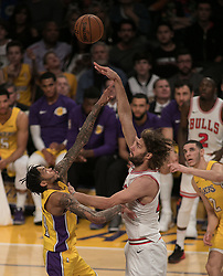 November 21, 2017 - Los Angeles, California, United States of America - Brandon Ingram #14 of the Los Angeles Lakers blocks a shot by Robin Lopez #42 of the Chicago Bulls during their game on Tuesday November 21, 2017 at the Staples Center in Los Angeles, California. Lakers defeat Bulls, 103-94. JAVIER ROJAS/PI (Credit Image: © Prensa Internacional via ZUMA Wire)