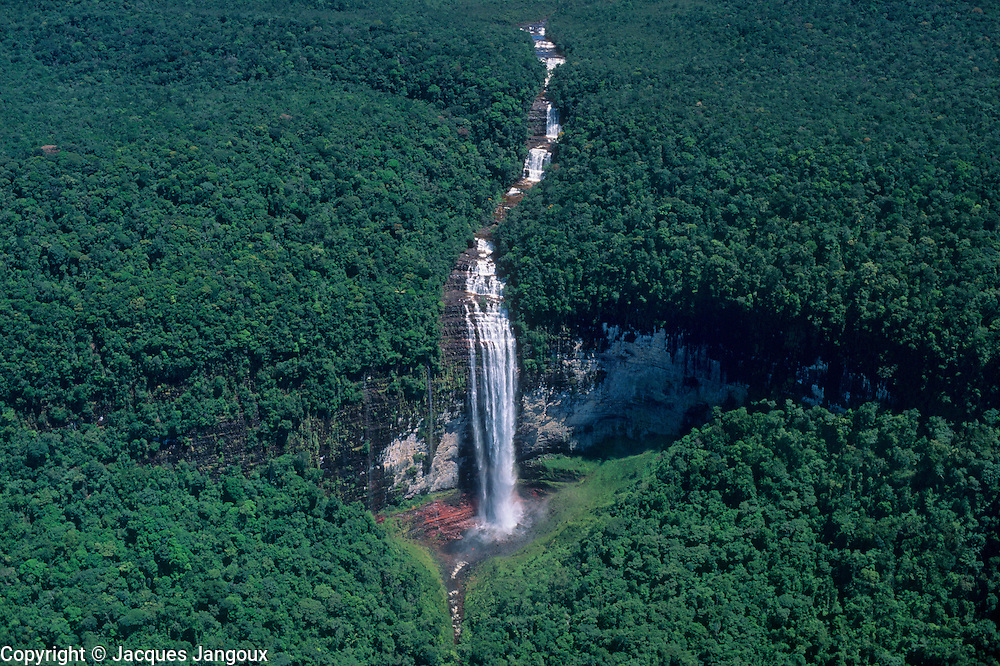 Waterfall coming down from Guyana (Guiana) Highlands toward Orinoco water basin, Guiana Shield,  Venezuela
