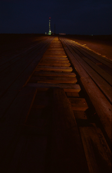 Stock photo of a pathway to an on-shore rig site