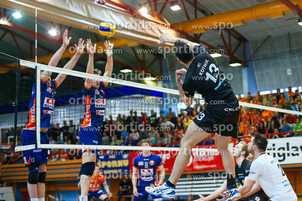 Domen Kotnik of Calcit Kamnik during volleyball match between Calcit Volleyball and ACH Volley in Round #4 of Finals of 1. DOL Slovenian Championship 2014/15, on April 23, 2015 in Sportna Dvorana, Kamnik, Slovenia. Photo by Matic Klansek Velej / Sportida