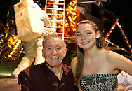 L-R, former NASA Apollo astronaut WALTER CUNNINGHAM and teen visitor CHRISTINA KENNEDY, of Kings Park, are at a Summer of '69 Celebration Event held at the Long Island Cradle of Aviation Museum, on the 45th Anniversary of NASA Apollo 11 LEM, Lunar Excursion Module, landing on the moon July 20, 1969. Two generations of Kennedy's family, William Pfeiffer and Richard Pfeiffer, worked on the LEM. Cunningham, who was the lunar module pilot for the Apollo 7 mission, was in the LEM Room during the reunion of former Northrop Grumman Aerospace Corporation employees. Behind them is Lunar Module LM-13 intended for Apollo 18 mission to Copernicus Crater in 1973, which was canceled.