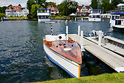 Henley on Thames, England, United Kingdom, 2nd July 2019, Henley Royal Regatta, Thames Slipper Launch, L'Amazon, moored by the floating grandstand, on Henley Reach, [© Peter SPURRIER/Intersport Image]<br /> <br /> 12:37:36 1919 - 2019, Royal Henley Peace Regatta Centenary,