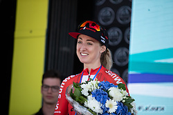 Leah Kirchmann (CAN) of Team Sunweb celebrates finishing in second place on La Course by Le Tour de France, a 121 km road race starting and finishing in Pau, France on July 19, 2019. Photo by Balint Hamvas/velofocus.com