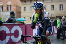 Lotta Lepistö arrives in Piazza del Campo, cold and wet at Strade Bianche - Elite Women 2018 - a 136 km road race on March 3, 2018, starting and finishing in Siena, Italy. (Photo by Sean Robinson/Velofocus.com)