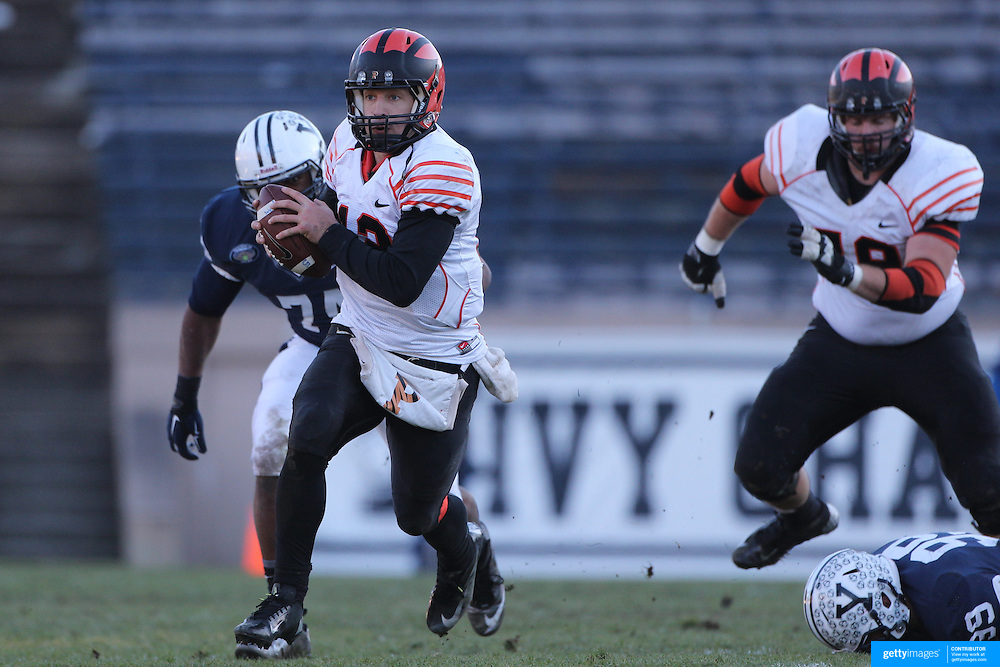 Quarterback Connor Michelsen, Princeton, in action during the Yale Vs Princeton, Ivy League College Football match at Yale Bowl, New Haven, Connecticut, USA. 15th November 2014. Photo Tim Clayton