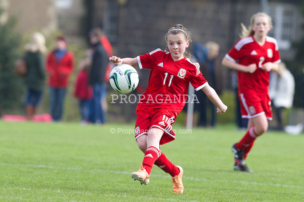 REPTON, ENGLAND - Thursday, April 17, 2014: Wales' Lily Woodham (St Teilo's Church in Wales) in action against Northern Ireland during the final Bob Docherty International Tournament match at Repton School. (Pic by David Rawcliffe/Propaganda)