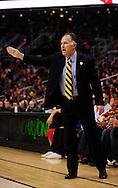 Mar. 6 2010; Phoenix, AZ, USA;  Indiana Pacers head coach Jim O'Brien reacts in the second half at the US Airways Center. The Suns defeated the Pacers 113 to 105. Mandatory Credit: Jennifer Stewart-US PRESSWIRE.