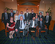 Dundee FC player of the year dinner at the Invercarse Hotel<br /> <br /> Back row l to r: Steve Martin (Dundee director), John Nelms (Dundee American investor), Alison McQueen (Dee Promotions), Davie Craig (DFCSA committee), Gavin Rae Dundee captain, John Nelms (Dundee director), Jacqui Robertson (DFCSA committee), Charlie Duthie of Tay Taxies (Event sponsor), John Burke (DFCSA committee).<br /> <br /> Front - l to r: Ann Harris (DFCSA committee), Geroge Harris (DFCSA committee), Dundee manager Paul Hartley, Pat Liney (Dundee honorary president) <br /> <br />  - © David Young - www.davidyoungphoto.co.uk - email: davidyoungphoto@gmail.com