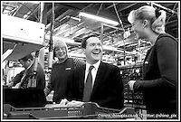 The Chancellor George Osbourne pictured visiting Triton Showers on his first visit to Nuneaton as part of a tour around the region. Picture by Shaun Fellows / Shine Pix