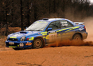 Dean Herridge & Glenn MacNeall .Cody Crocker & Greg Foletta.Subaru Impreza WRX.2003 Rally of Canberra .Canberra, ACT, Australia.25-27th of April 2003.(C) Joel Strickland Photographics