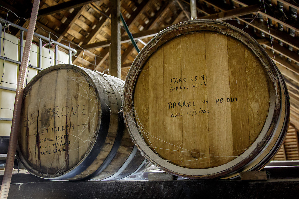 Spider webs at Belgrove Distillery in Kempton, Tasmania, August 25, 2015. Distillery owner Peter Bignell learned early on that terroir is important in the production of whisky, and therefore doesn't disturb the spiders, a naturally occurring part of the environment. Gary He/DRAMBOX MEDIA LIBRARY