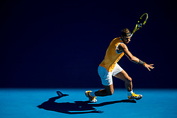 January 20, 2019 - Melbourne, VIC, U.S. - MELBOURNE, AUSTRALIA - JANUARY 20 : Rafael Nadal of ÊSpain returns the ball during day 7 of the Australian Open on January 20 2019, at Melbourne Park in Melbourne, Australia.(Photo by Jason Heidrich/Icon Sportswire) (Credit Image: © Jason Heidrich/Icon SMI via ZUMA Press)