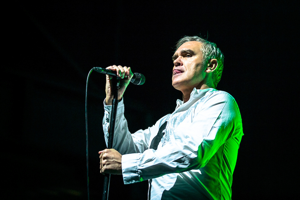 MORRISSEY live at Palladium Cologne during &quot;The World Peace Is None of Your Business&quot; Tour 2015. The lyricist and vocalist of the former rock band The Smiths is an important innovator in the indie music scene and known for his contrarian opinions and as a fiercful animal protectionist.<br />